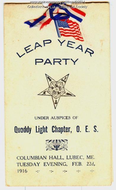 Eastern Star party invitation, Lubec, 1916