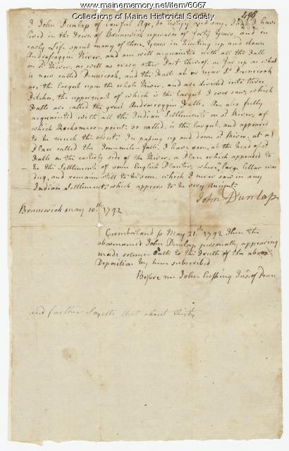 John Dunlop's deposition regarding land