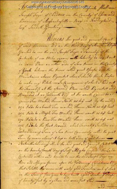 Joseph Frye's land deed for Fryeburg,  1763