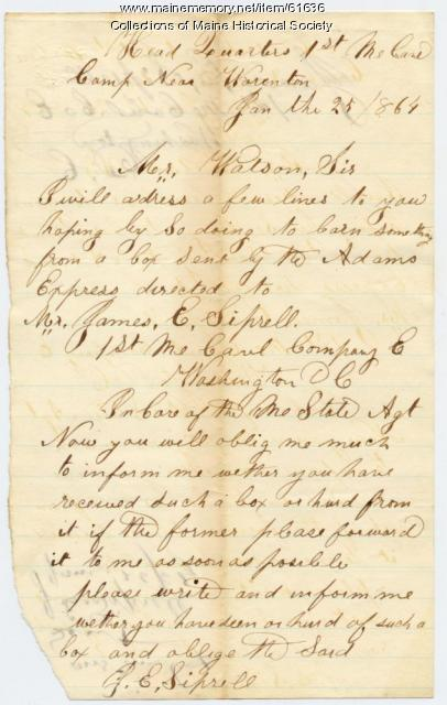 Request for information on soldier's box, 1864