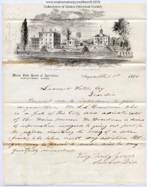 Request to disinter fallen soldier, Augusta, 1864