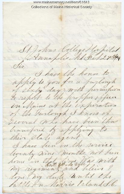 Prisoner request for Parole, Annapolis, Md., 1864