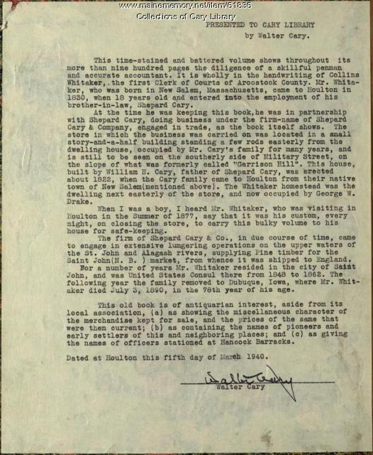 Presentation letter by Walter Cary, Houlton, 1940