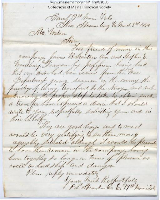 Request for soldier transfers to navy, Virginia, 1864
