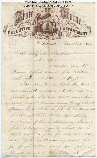 Inquiry about soldier's promotion, Augusta, 1864