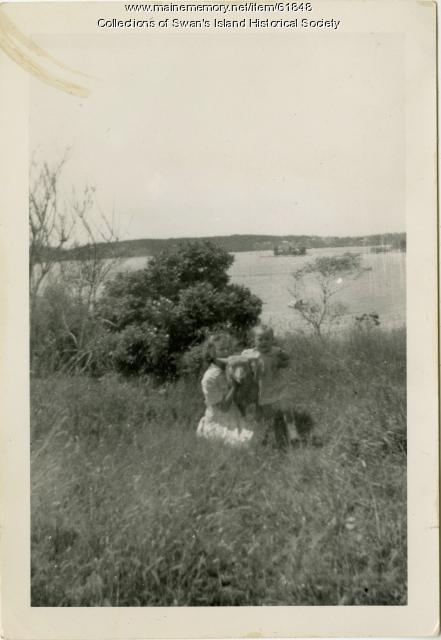 Theo & Etta Buswell with sheep, Swan's Island, ca. 1935