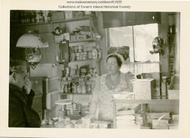 Laura Sprague in Atlantic store, Swan's Island, ca. 1940
