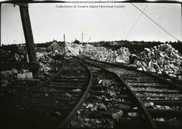 Quarry rails from the quarry dock to the quarry, Swan's Island, ca.  1900