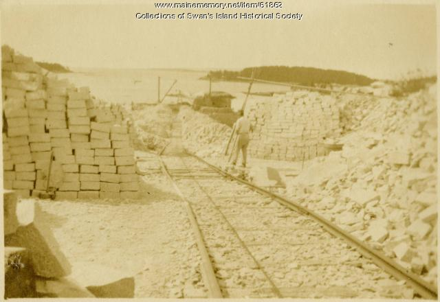 Quarry tracks and granite stones for shipping, Swan's Island, ca. 1900