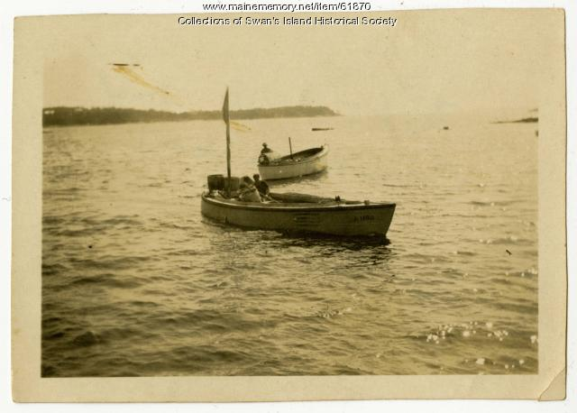 Two men in dories, Swan's Island, ca. 1930