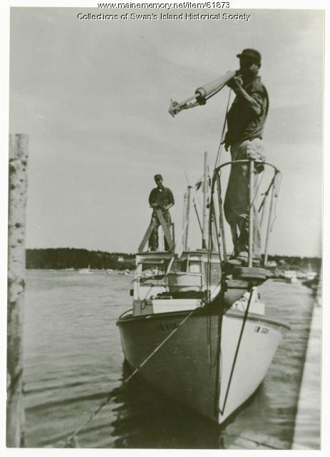 Fishing for tuna with a harpoon, Swan's Island, ca. 1950