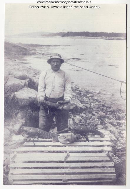 Lobsterman holding one giant lobster, Swan's Island, ca. 1930