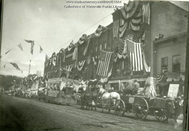 Parade in Waterville during the centennial celebration, 1902
