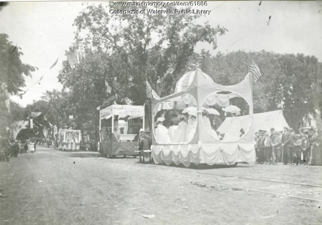 Floats in Waterville's centennial celebration parade, 1902