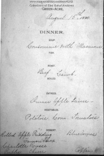 Green Acre menu, Eliot, 1890