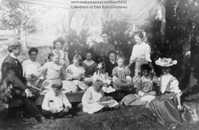 Class under the pines, Eliot, ca. 1900