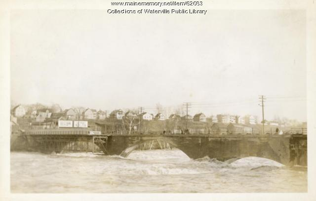 Kennebec River bridge during flooding, Waterville and Winslow, 1936