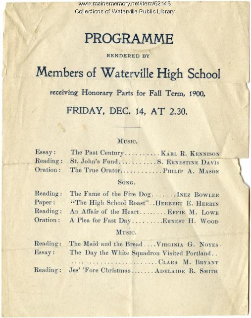 Waterville High School fall term honors, Waterville, 1900