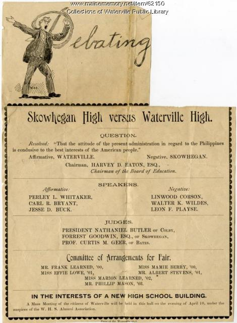 Debate between Waterville and Skowhegan high schools, March 29, 1900