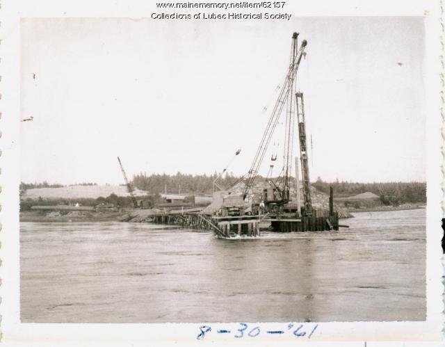 Cranes working on bridge construction, Lubec, 1961