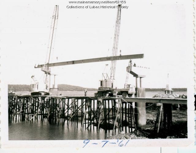I-beam placement on bridge, Lubec, 1961