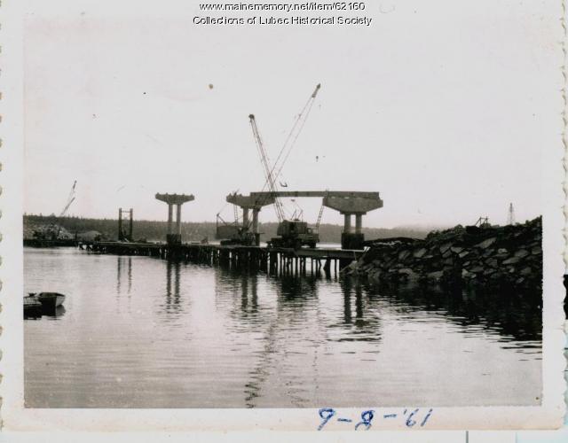 Piers under construction for bridge, Lubec, 1961
