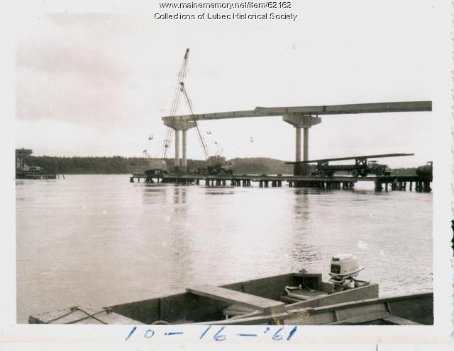 High tide and bridge construction, Lubec, 1961