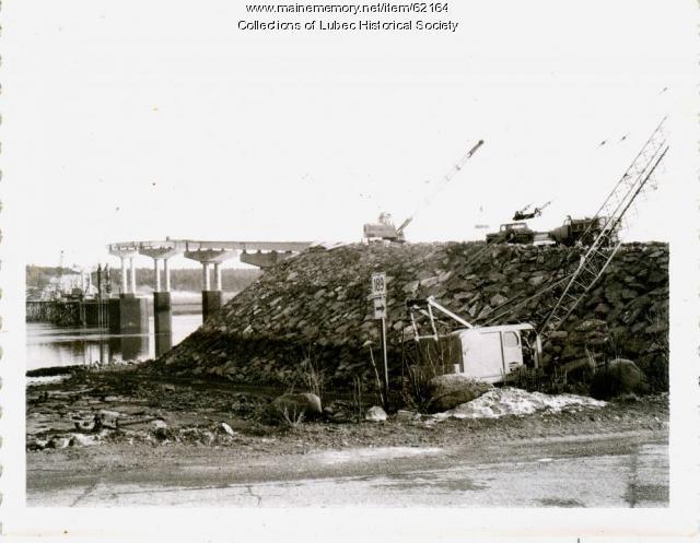United States side of bridge construction, Lubec, 1961