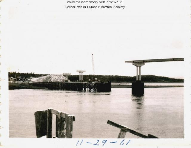 Trestle work for the Roosevelt International Bridge, Lubec, 1961