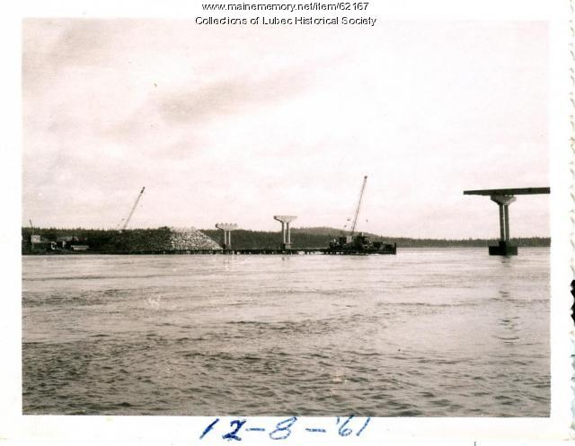 Cranes with pier construction on new bridge, Lubec, 1961