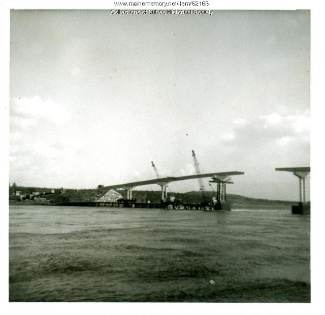 Bridgework almost complete, Lubec, 1962
