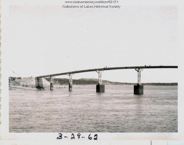Trestle work completed on bridge, Lubec, 1962