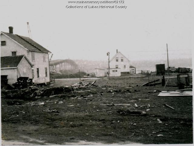 Bridge construction and village streets, Lubec, 1962