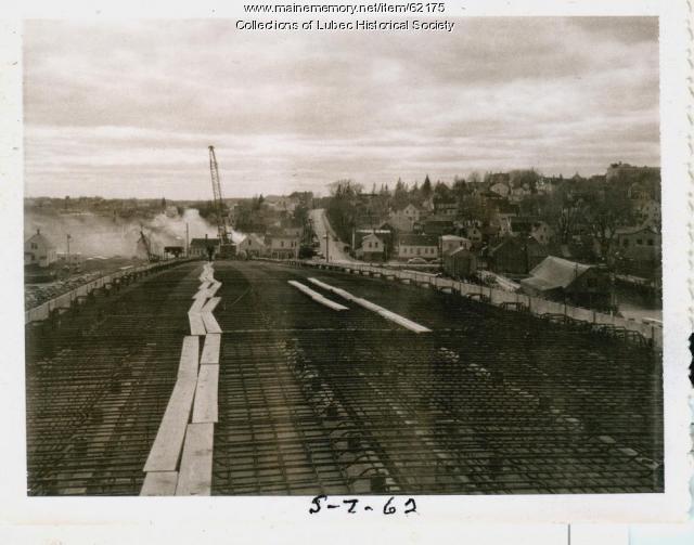 Roadwork on bridge surface, Lubec, 1962