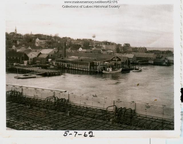 Lubec waterfront from new bridge, 1962