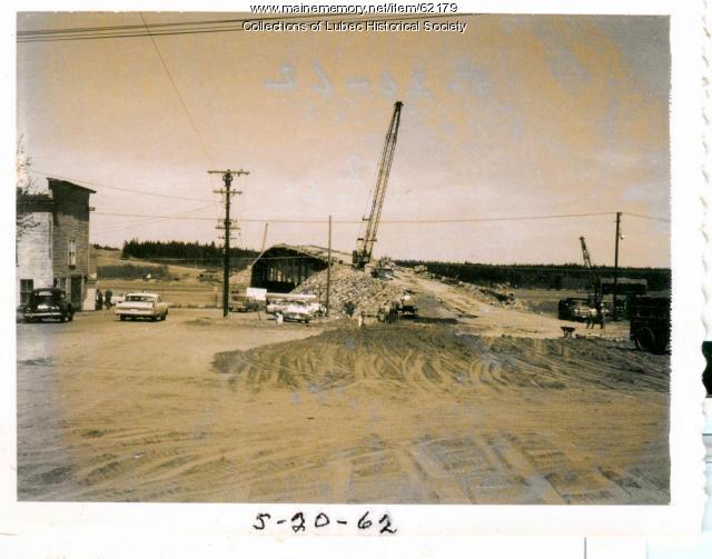 Road construction towards bridge, Lubec, 1962