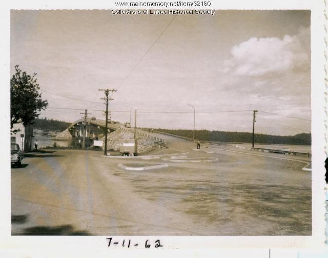 Final work on international bridge, Lubec, 1962