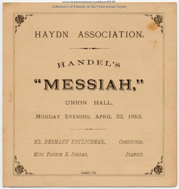 Handel oratorio program, Portland, 1883