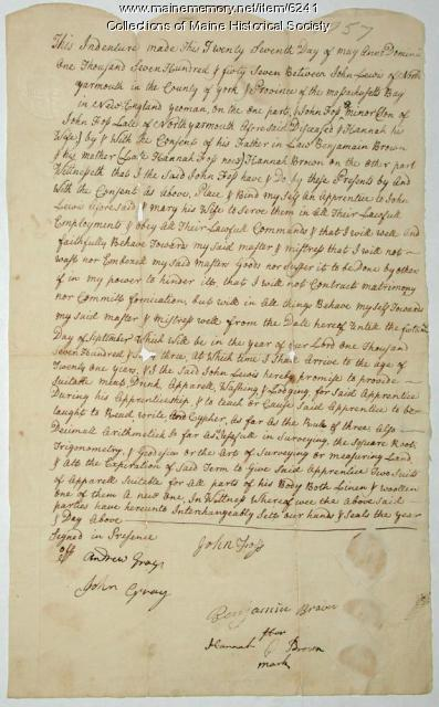 Indenture agreement between John Foss and John Lewis