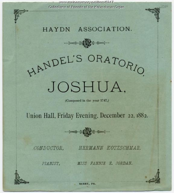 Handel's 'Joshua' program, Portland, 1883