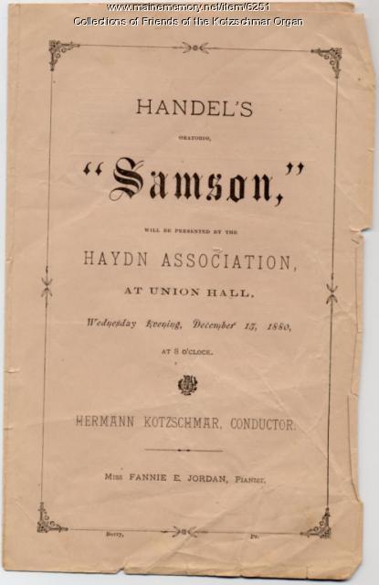 Handel's 'Samson' program, Portland, 1880