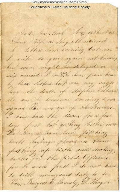 Eben Calderwood, New York, to wife, 1862