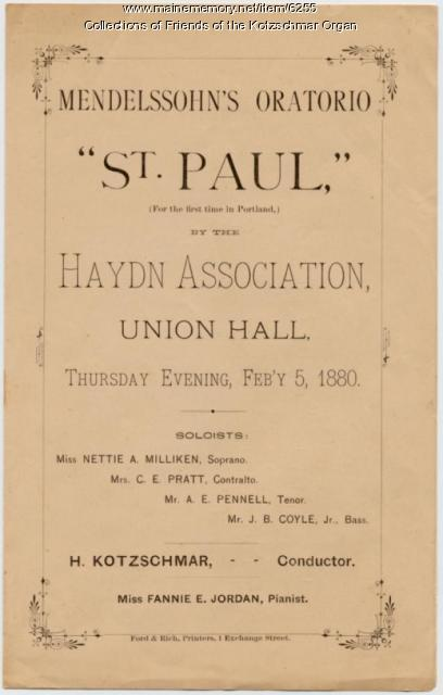 Mendelssohn's  'St. Paul' program, Portland, 1880