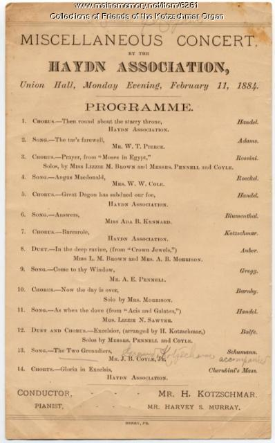 Hayden Association concert program, Portland, 1884