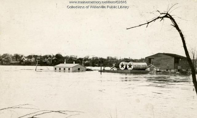 Flooded Texaco station, Winslow, 1936