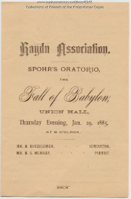 """Fall of Babylon' concert program, Portland, 1885"