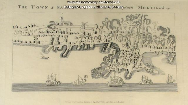 The town of Falmouth, burnt by Capt. Moet, October 18, 1775