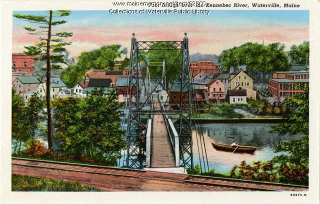 Footbridge over the Kennebec River, Waterville and Winslow, ca. 1940