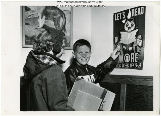 Book Week excitement, Waterville Public Library, Waterville, 1955