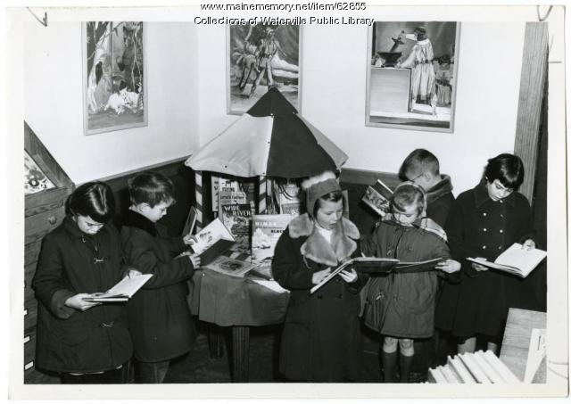 Children reading, Waterville Public Library, 1954